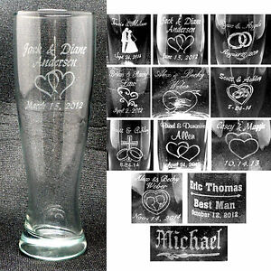 Personalized Pilsner Glasses Groomsmen Bridesmaids Wedding Party