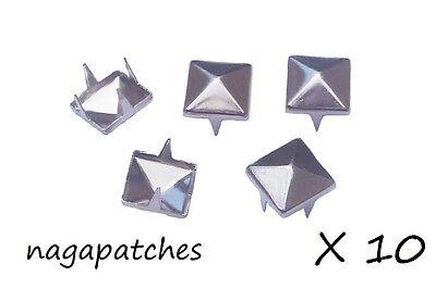 Lot de 10 rivets clous pyramid studs style mode punk gothic en nickel DIY-001