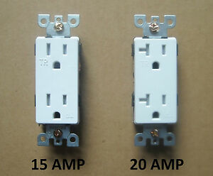 DECORA TAMPER RESISTANT T/R RECEPTACLE PLUG TR OUTLET 15A 20A AMP ...