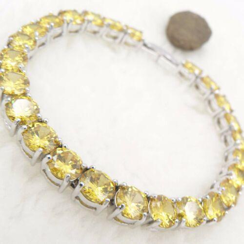 citrine quartz crystal round jewel 18k white gold gp bright bracelet