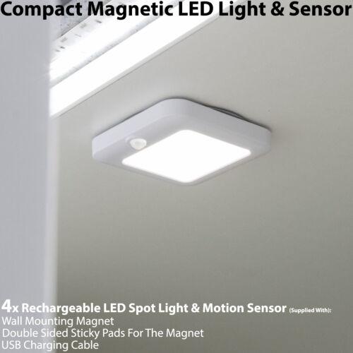 Cupboard//Cabinet Mini Spot 4x Rechargeable Magnetic DEL Light /& Motion Capteur
