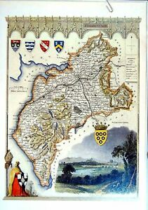 Original-Old-Vintage-Print-1990-Map-England-County-Cumberland-Carlisle-Maryport