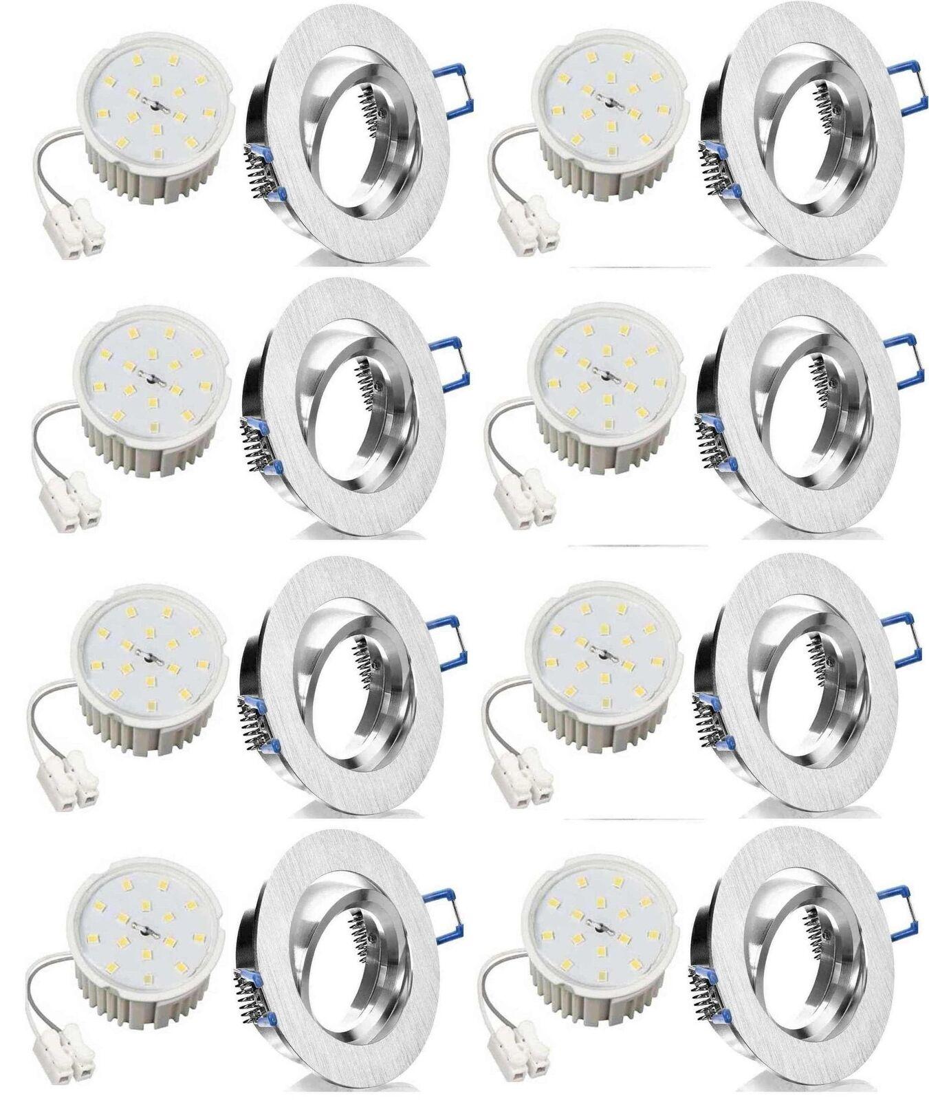 8xFlacher Led Einbaustrahler Alu gebürstet+Flat Led 7W ww 120° Einbautiefe 45mm