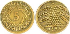 5 Pfennig 1924 A Fehlprägung 10% dezentriert ohne Riffelrand ss 63773
