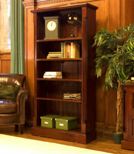 Baumhaus-La-Roque-Tall-Open-Bookcase-Solid-Mahogany-Wood