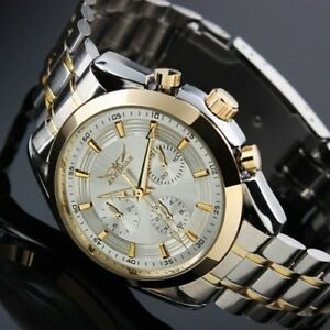 Self-winding-Men-039-s-Watch-Gold-Case-White-Dial-Stainless-Steel-Watch-Luxury-Man
