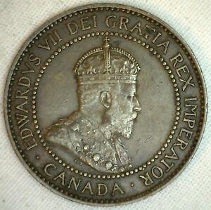 1910-Cuivre-Canadien-Grand-Cents-Piece-de-Monnaie-1-Cent-Canada-Au-K1