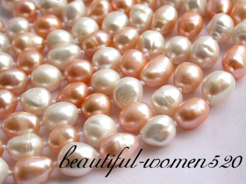 """z1921 100/"""" 10mm baroque white pink fw pearl necklace"""