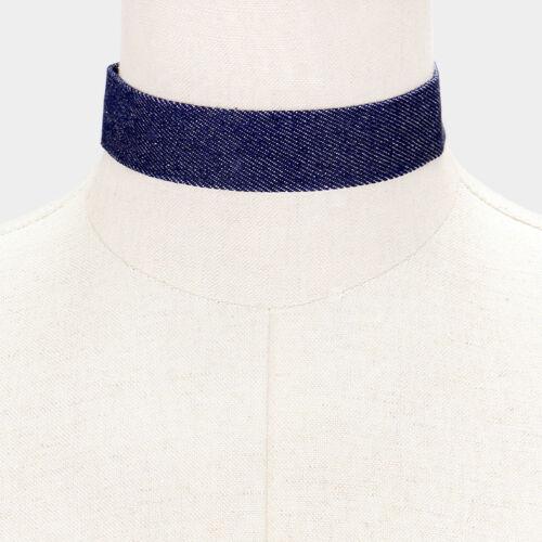 "12/' dark blue jean denim choker collar Necklace 1.25/"" wide"