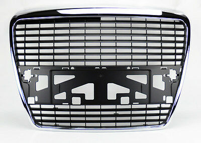 Badgeless Style Chrome & Black Mesh Front Hood Bumper Grill Fits Audi A6 S6