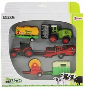 Toi-Toys-28091-Z-6-teiliges-Landmaschinen-Set-Traktor-Pferdeanhaenger-Bauernhof