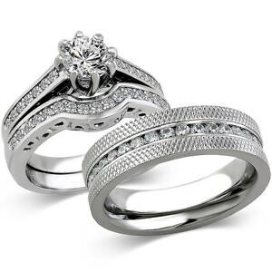 His-amp-Hers-Stainless-Steel-1-85-Ct-Cz-Bridal-Set-amp-Men-039-s-Eternity-Wedding-Band