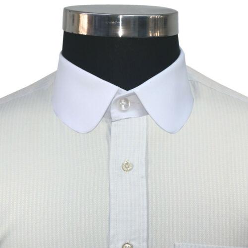 Peaky Blinder Club collar Sky Blue texture shirt Mens Penny collar Round Vintage