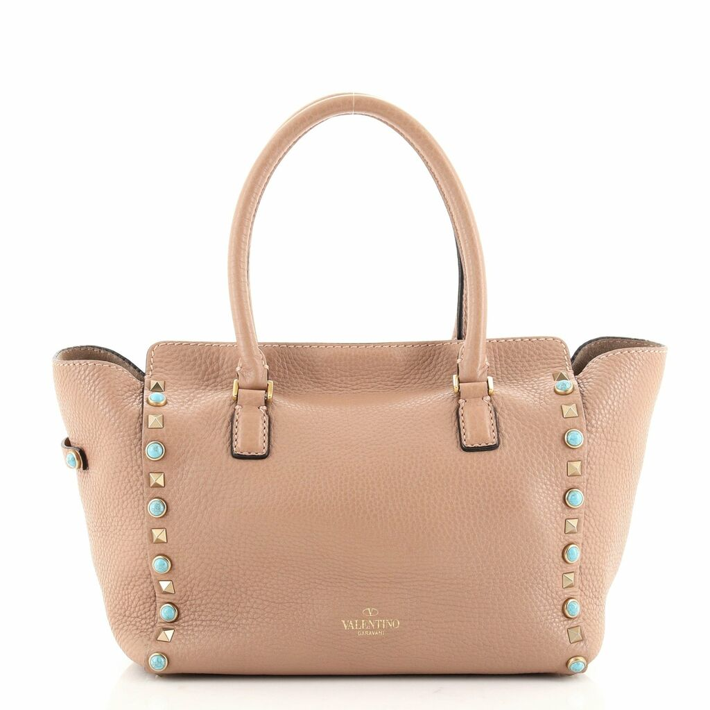 Valentino Rolling Rockstud Tote Leather with Cabochons Small  | eBay