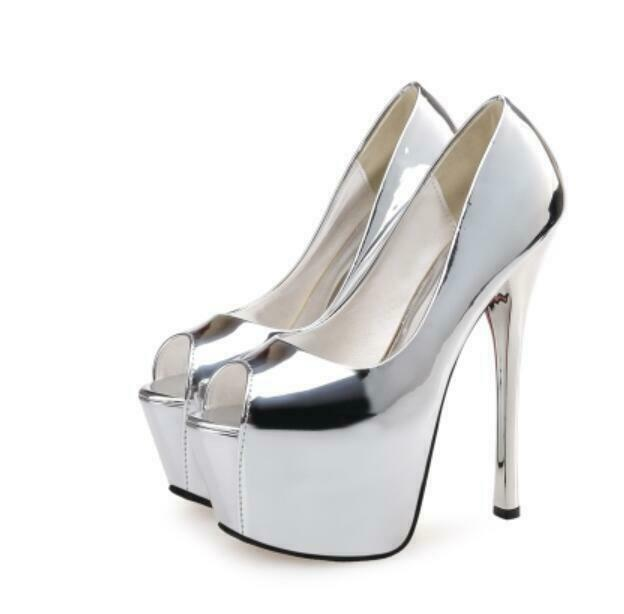 2 Style Womens Round Toe OL Party Party Party shoes Super 16cm High Heel Platform Stilettos 558519