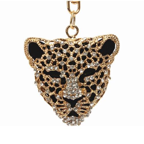 1X Leopard Head  Rhinestone Crystal Keyring Charm Pendant  V3N5