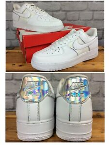 NIKE-MENS-AIR-FORCE-1-07-LV8-WHITE-HOLOGRAPHIC-TRAINERS-VARIOUS-SIZES-EP