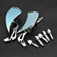 Motorcycle Chrome Flame Mirror For Cafe Racer Street Standard Bike Cruisers