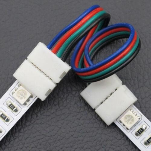 5X CONNECTEUR RUBAN LED 10mm RGB 5050 RALLONGE A CLIP CABLE SANS SOUDURE
