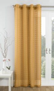 MUSTARD-GOLD-TEXTURED-GEOMETRIC-POM-POM-EYELET-THICK-VOILE-NET-CURTAIN-PANEL-S