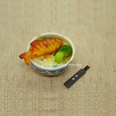 1//6 Scale Mini Chinese Food Fish Vegetable Rice Donburi Chopsticks Set Model Toy