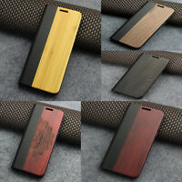 Wood Case Cover For Samsung Galaxy S8 S7 Edge Flip Leather Wallet Card Holder