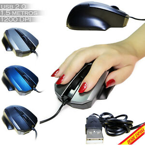 RATON-ORDENADOR-OPTICO-CON-CABLE-USB-2-0-1200-DPI-PORTATIL-PC-GAMING-MOUSE