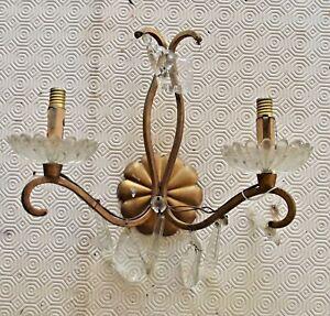 Ancienne-epave-applique-vintage-pampille-Chandelier-restauration-lustre-deco