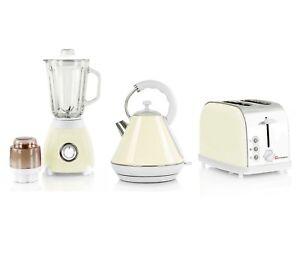 1.8L Electric Kettle Bagel Toaster Blender & Grinder Matching Kitchen Set Cream