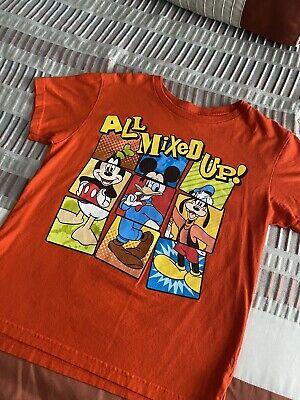 XXS 2//3 Mickey Mouse Donald Duck Goofy All Mixed UP Orange Disney Tee Shirt NWT
