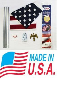New 3 X 5 Us Flag Pole Kit 6 Flagpole Usa American