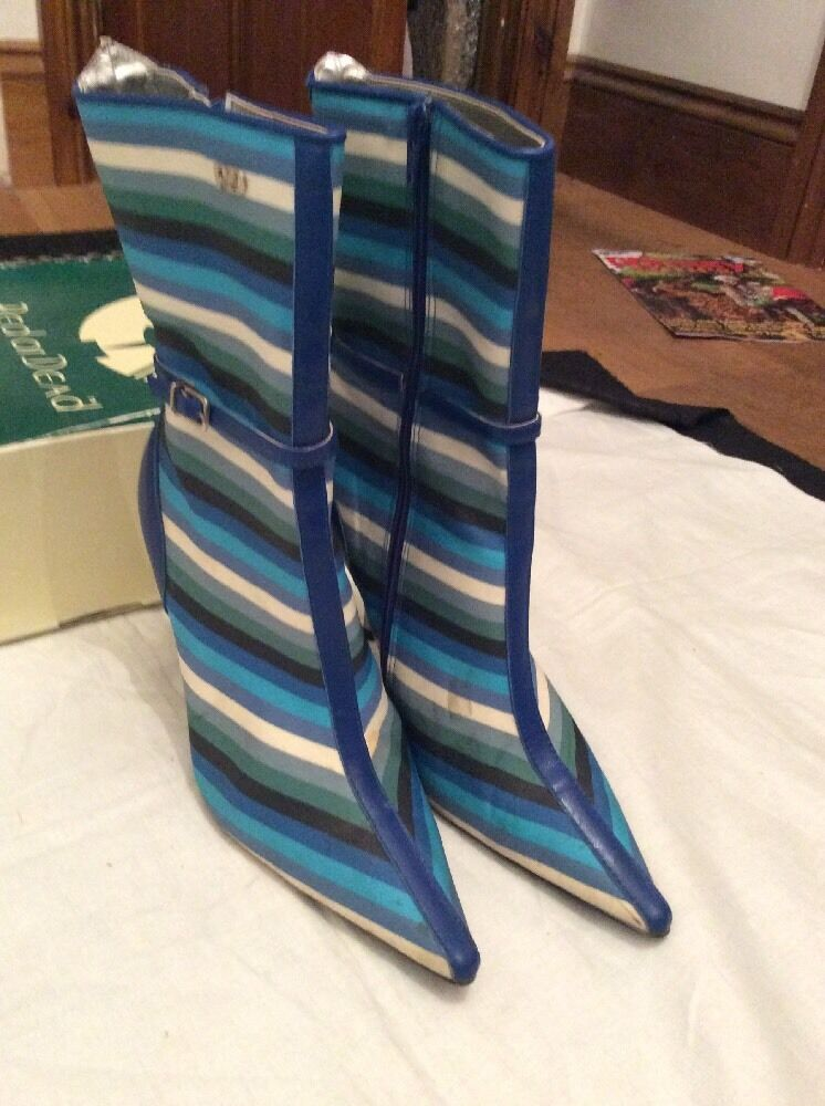rouge rouge rouge OR DEAD bleu Striped Ankle bottes QUEENIE 7 Hardly Worn 8a79d2