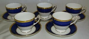 Coalport-England-Athlone-Blue-Set-of-5-Footed-Coffee-Cups-amp-Saucers-Bone-China