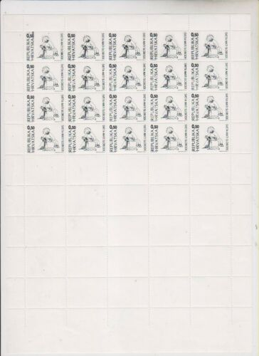 CROATIA,charity stamp,0.50 kn,not issued proof,cpl sheet with labels,nice MNH