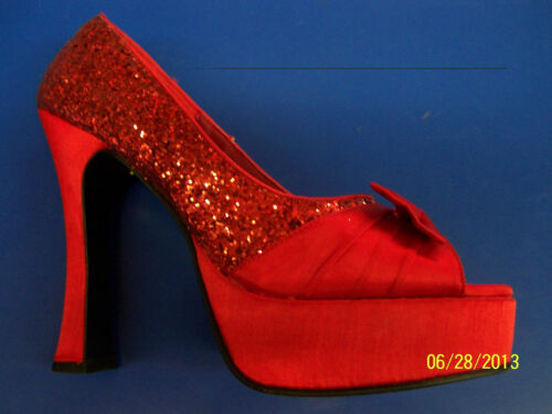 PARTY Shoes Dorothy Red Glitter Satin Peep Toe Halloween Adult Costume Accessory