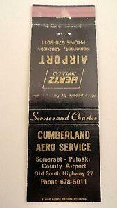 Matchbook-Cover-CUMBERLAND-AERO-SERVICE-Hertz-Rent-A-Car-Somerset-KY-Front-Str