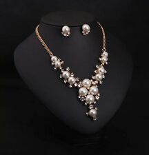 Bohemian Style Pearl Crystal Statement Choker Chunky Bib Necklace+Earring 1Set