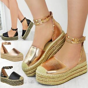 4d0de9f2e047 Image is loading Womens-Ladies-Flat-Sandals-Studded-Ankle-Strap-Flatforms-