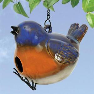 "Natures Garden Plump Blue Ceramic BIRDHOUSE Bird House Hanging 5"" x 7"" x 5.75"""