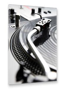 Postereck-Leinwand-0228-Turntable-Schwarz-Weiss-Musik-Disco-DJ-Schaltplatte