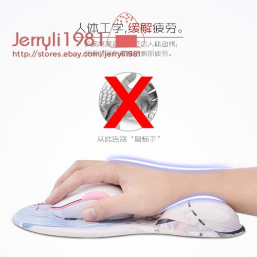 26cm Re:zero Rem Anime Girl Mousepad 3D Chest Silicone Soft Mice Mat Wrist Rest