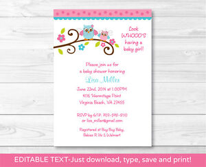 Details About Girl Owl Printable Baby Shower Invitation Editable Pdf