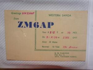 OLD-VINTAGE-QSL-HAM-RADIO-CARD-WESTERN-SAMOA-1954
