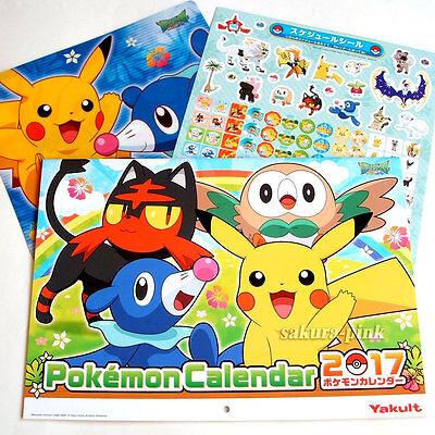 2017 Pokemon SUN&MOON Calendar w/ File Folder & Schedule Stickers Japan Limited