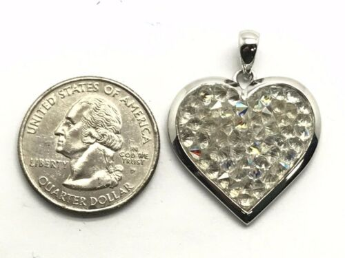 Sterling Silver 925 Translucent Clear Spikes Druzy Cluster Heart Love Pendant