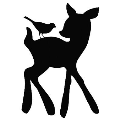 Cartoon Red Bambi Deer With Butterfly Wall Sticker Cute Animal Vinyl Wall Decal