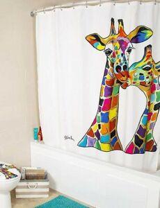 Croydex-Fabric-Shower-Curtain-Francie-amp-Josie-Giraffe-Bathroom-Machine-Washable