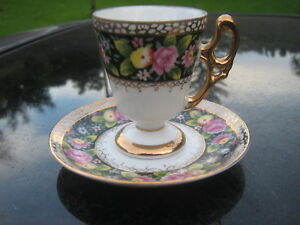 Vintage China Demitasse Cup And Saucer Set Rose And Gold Trim On Black White Ebay
