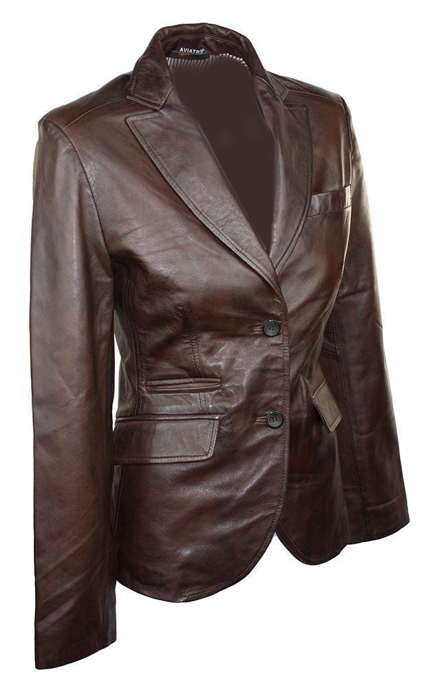 100% Cuero de las señoras  chaqueta chaqueta de estilo Vintage 2 Botones marrón Blazer  hasta 42% de descuento