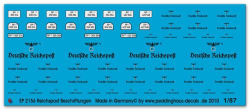 Peddinghaus 2156 1//87 Reichspostbeschriftungen